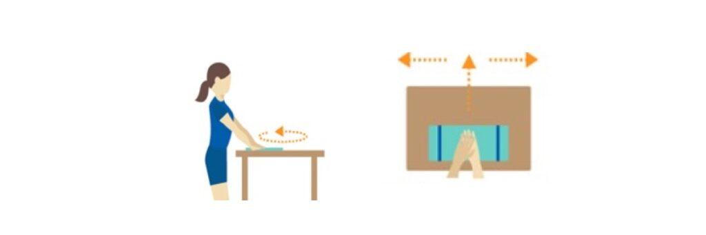 Handen op tafel oefening bij een Frozen Shoulder blessure.