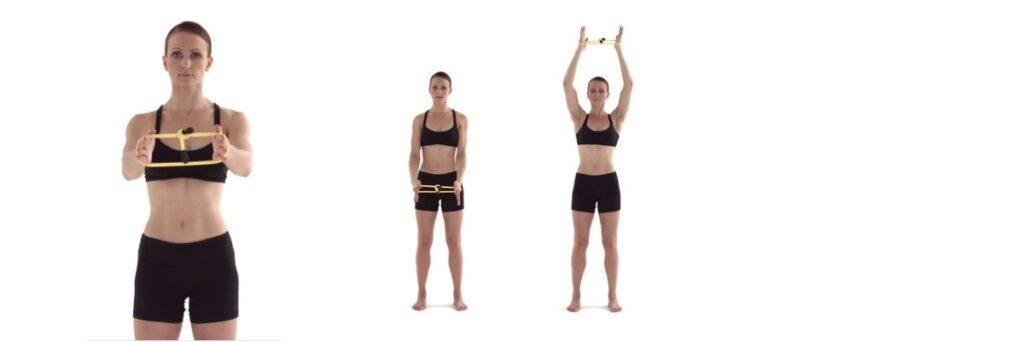 Oefening bij een Frozen Shoulder met elastiek.