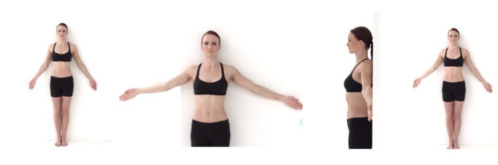 Oefening bij een Frozen Shoulder, armen vlak tegen een muur en langzaam omhoog bewegen.