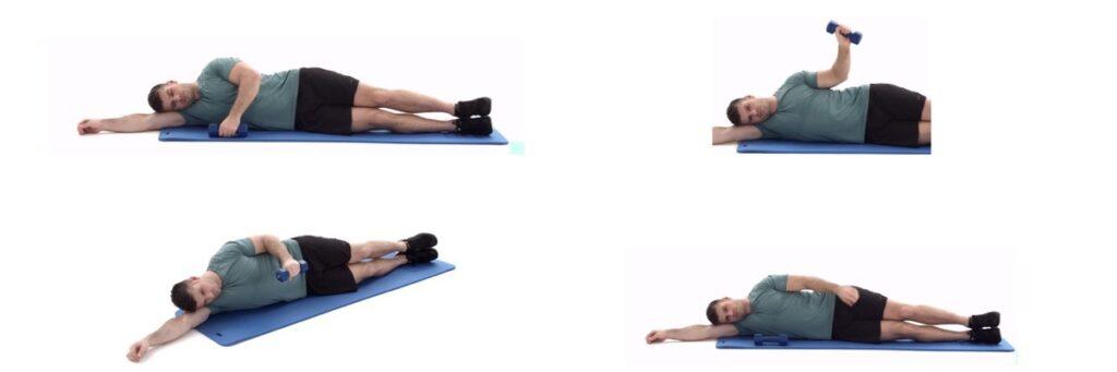 Zijwaartse oefening met gewicht, goed bij een Frozen Shoulder blessure.